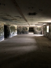 Inside the lower front section of the beach bunker