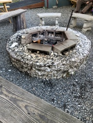 Very cool firepits made out of oyster shells. They had oyster shell fences surrounding the seating area as well.